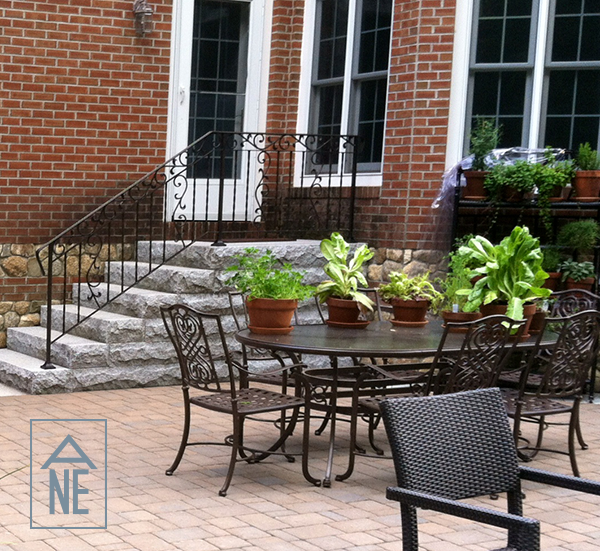 Granite stairs, stone veneer and patio in Amherst NH