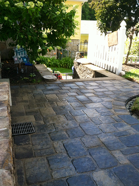 Custom designed bluestone paver patio for Manchester New Hampshire landscape