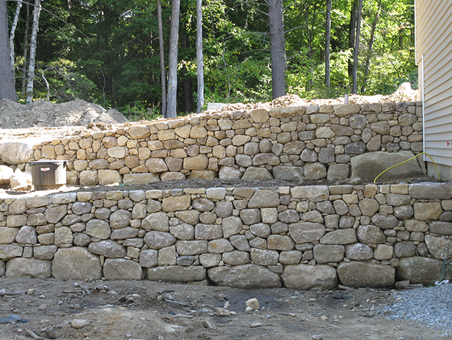 Two stone retaining walls in Bedford NH